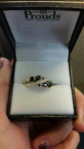 9ct Gold Black Sapphire & Dimond Multi Crossover Swirl Ring Pinjarra Murray Area Preview