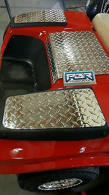 Club Car Golf Cart DS 5 piece kit. DIAMOND PLATE Bagwell fender top access cover