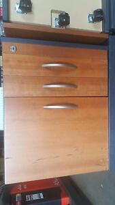 WOODEN PEDESTAL IRONSTONE TOP - work office study storage drawers Murarrie Brisbane South East Preview