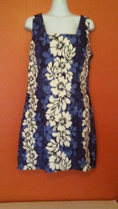Royal Creations Hawaiian Blue Floral Print Beach Cruise Shift Dress Womens X L