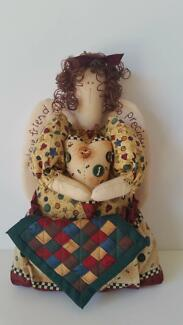 NEW Well made country style fabric standing angel doll w/ quilt