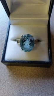 ONE HAND FINISHED WHITE GOLD TOPAZ AND DIAMOND RING Alderley Brisbane North West Preview