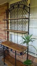 DISPLAY STAND WROUGHT IRON WITH WOOD & BLUE GLASS 2m x 930mm Brisbane City Brisbane North West Preview