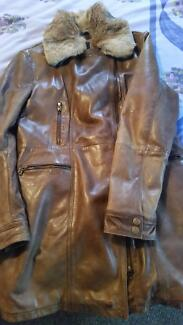 Ladies leather coat, suit size 12-14