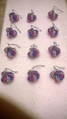 Blue And Silver Christmas Ornaments (12 HANDMADE CHRISTMAS ORNAMENTS MADE WITH BLING BLUE PINK AND)