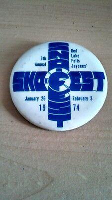 Vintage Collectible ButtonPinBack Jaycees 6thAnnual SnoFest RedLakeFalls MN 1974