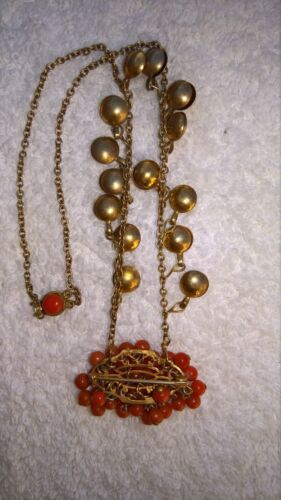 Victorian Coral & Gold Fill Necklace