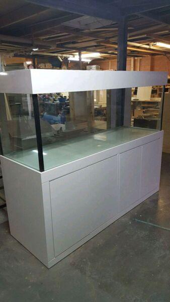 "6ftx18"" x18"" Aquarium Glass Fish Tank, White Mordern Style & Hood"