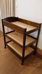 Timber Baby Change Table - Dark Oak / Walnut colour with shelves Adelaide CBD Adelaide City Preview