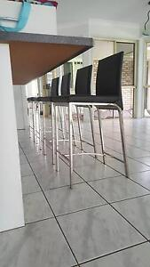 Excellent Condition 4 x black leather bar stools Morayfield Caboolture Area Preview