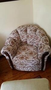 Vintage style tapestry mats/wood 3 seater sofa with 2 armchairs Revesby Bankstown Area Preview