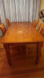 Solid Pine Dining Table with 4 Chairs Blackburn North Whitehorse Area Preview