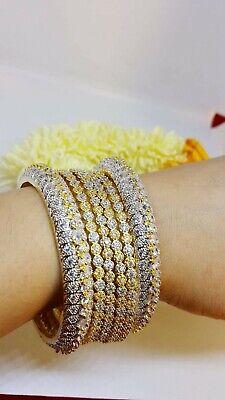 Indian Pakistani Gold Plated American Diamond AD 4 Bangles & 2 kara size 2.8