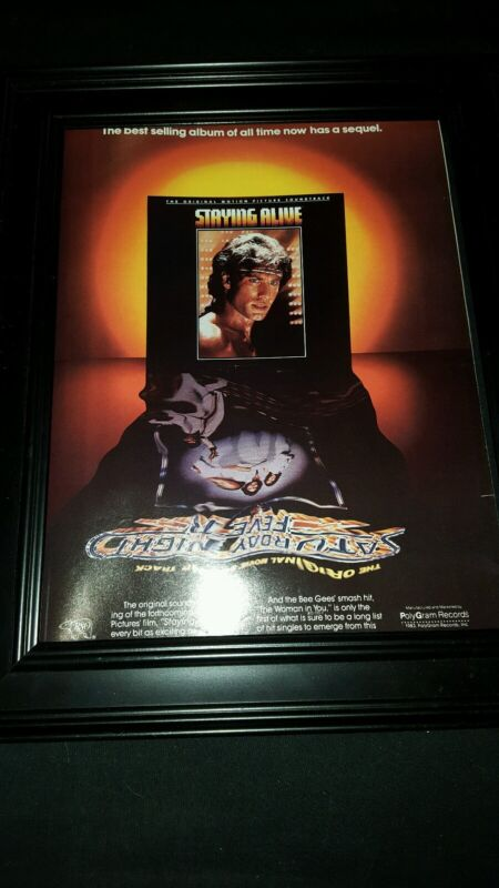Staying Alive Bee Gees Rare Original Soundtrack Promo Poster Ad Framed!