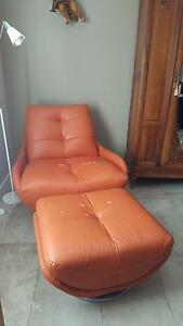 Italian Leather Lounge Chair and matching Footrest - URGENT SALE Pagewood Botany Bay Area Preview