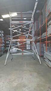SINGLE WIDTH ALUMINIUM MOBILE SCAFFOLD 4.2M 2 WORKING LEVELS Revesby Bankstown Area Preview