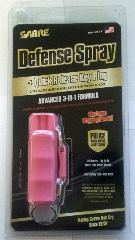 Pink Sabre Red Keychain Pepper Spray Hard Case Self Defense Protection EXPIRED