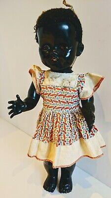 "1950s VTG hard plastic Pedigree Walking Talking 16"" Black Toddler Doll"