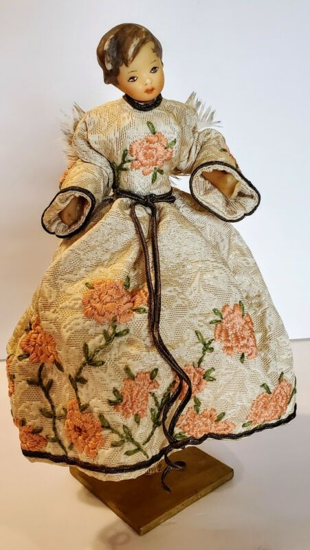 Antique German Handmade Wax Angel On Stand Embroidered Pink Roses Gold Thread
