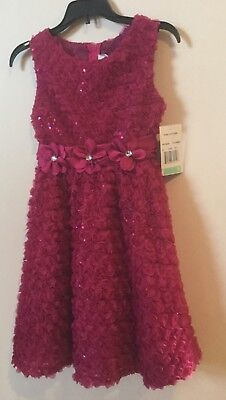 GIRLS Holiday Dress by Bonnie Jean Rare Editions. FUCHSIA (Hot Pink), SIZE 8 - Hot Pink Girls Dress