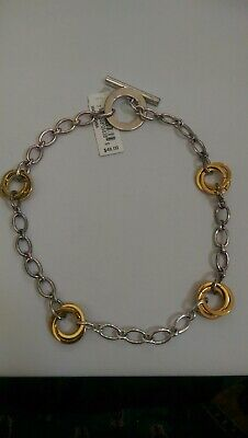 NWT Lauren Ralph Lauren Gold Silver Tone LINK Toggle Clasp NECKLACE MSRP $48