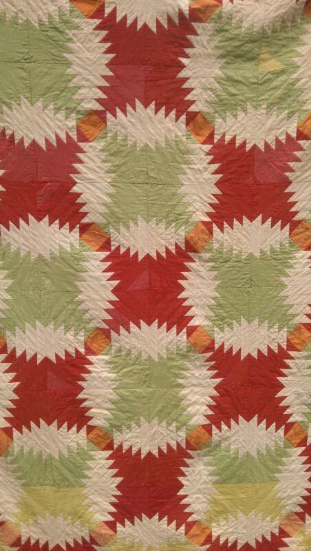 19th C Quilt Pineapple Pattern 72 X 82 Antique