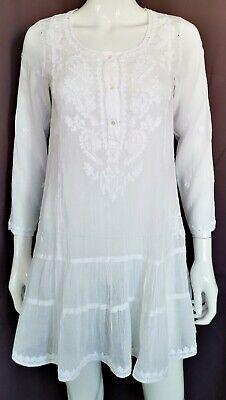 Juliet Dunn London Women White 100% Cotton Embroidered Kaftan Tunic Top One Size