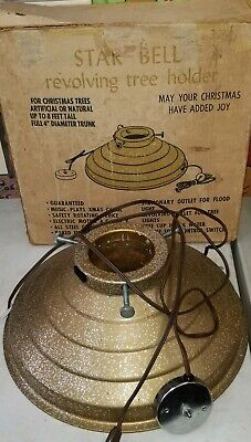 Vintage Gold Starbell Glitter Revolving Rotating Christmas Tree Stand in Box