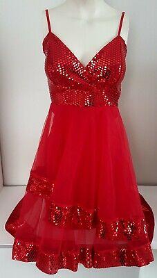 vestido mujer rojo lentejuelas y gasa fiesta Navidad Nochevieja talla M nuevo