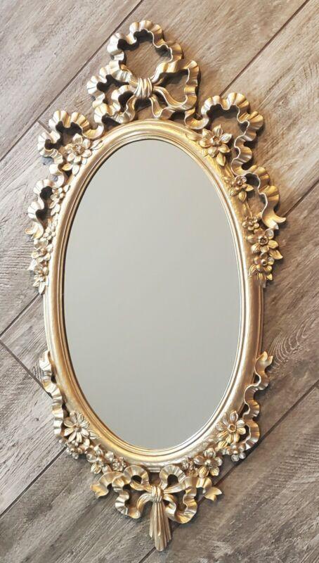 """1970 Syroco Decro Mirror Gold Made In USA 32""""×16"""""""