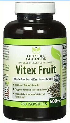 Herbal Secrets Vitex Fruit 400 Mg 250 Capsules - Women's Health Supports Horm...