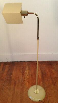 Koch + Lowy MCM Tan Brass Tent Shade Adjustable Pharmacy Floor Lamp -