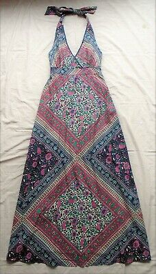 Vintage Monsoon long dress - Indian block print cotton fabric - size S