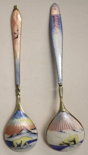 Sterling Silver Enamel Demitasse Spoon Set of 2 with Polar Bears