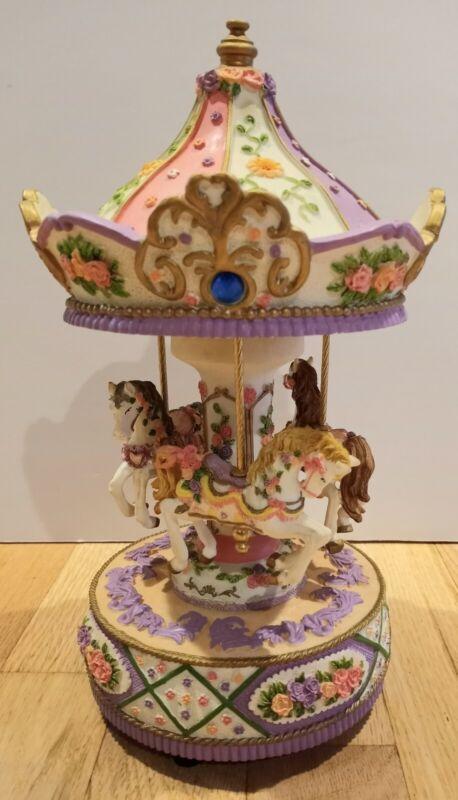 Vintage Three Horses Spinning Carousel Musical Figurine