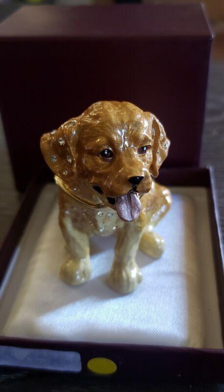 ADORABLE Impulse Jeweled Enameled ~ RETRIEVER ~ Hinged Trinket Box