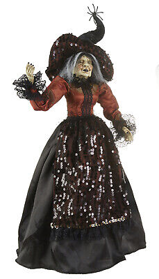 Raz Imports Halloween Decorations (RAZ Imports Halloween Witch w/ Posable Arms Orange Top Sequined Hat - 25.5)