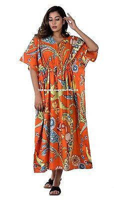 Indio Largo Pájaro Estampado Vestido Kimono Boho Naranja Algodón Caftán Bata