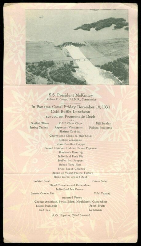S.S. President McKinley Menu - In Panama Canal w Image from Photograph 1931