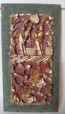 Antique Vintage Chinese Deep Carved Wood Hanging Panel Red & Gilt Gold Finish  Antique Gold Finish Wood