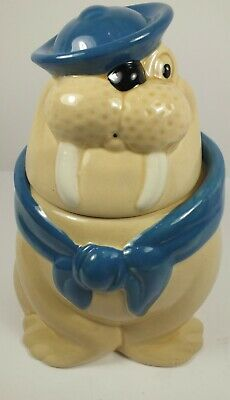 * Vintage Metlox California USA Pottery Wally Walrus Sailor Figural Cookie Jar