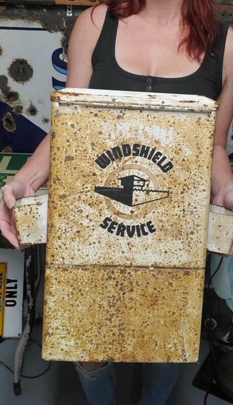 Vintage Gas Service Station Windshield Washer Service Box Island Cabinet