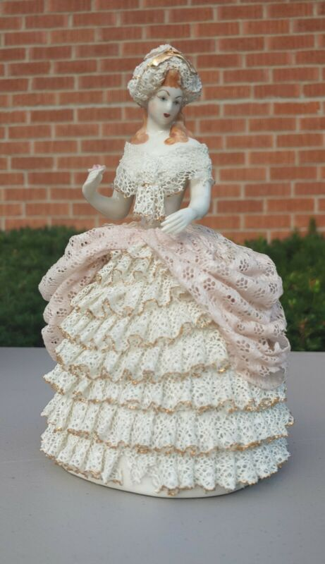 Vintage Heirlooms of Tomorrow Porcelain Doll Girl Lady Dresden Lace