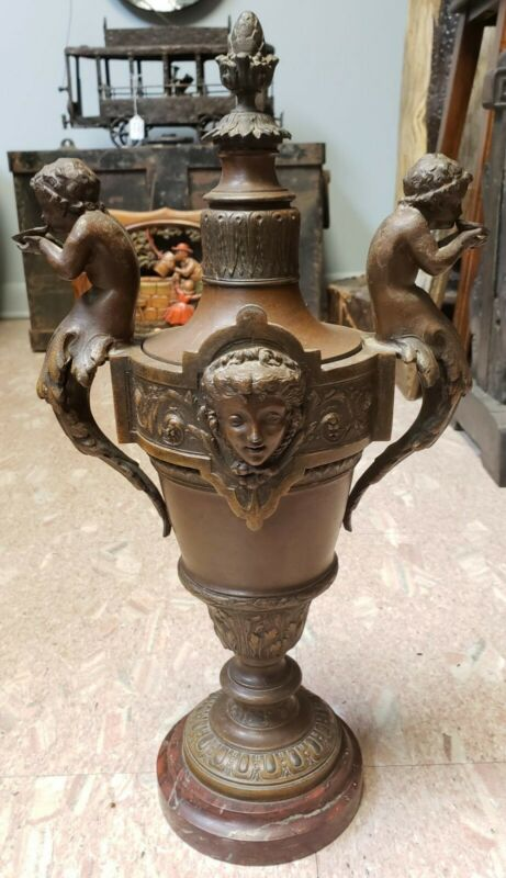 Ca. 1870 French Empire Style Spelter Putti Handle Baluster/Pineapple Finial Urn