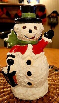 "Vintage Ceramic Snowman Lights Up 9.5"" Mold Christmas Lamp 1975. ""RARE"""