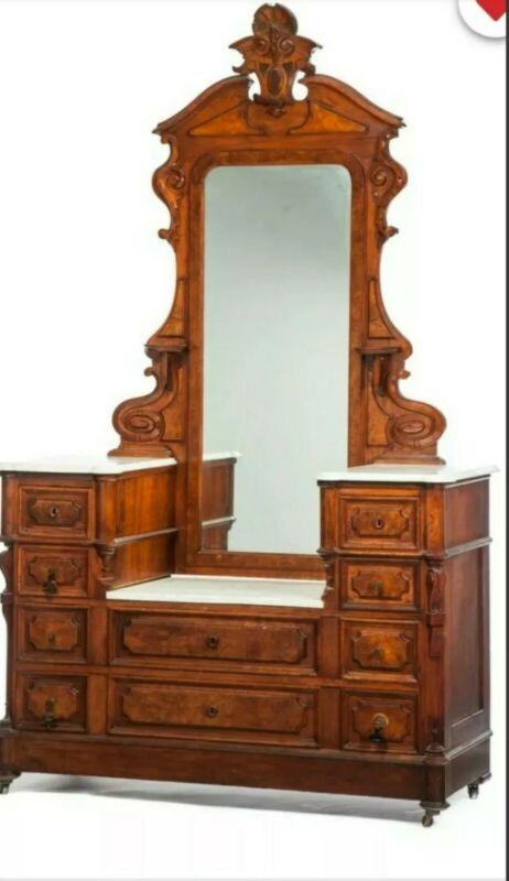 Antique Eastlake Victorian Walnut Vanity Dresser Chest Drawers Italian Marble