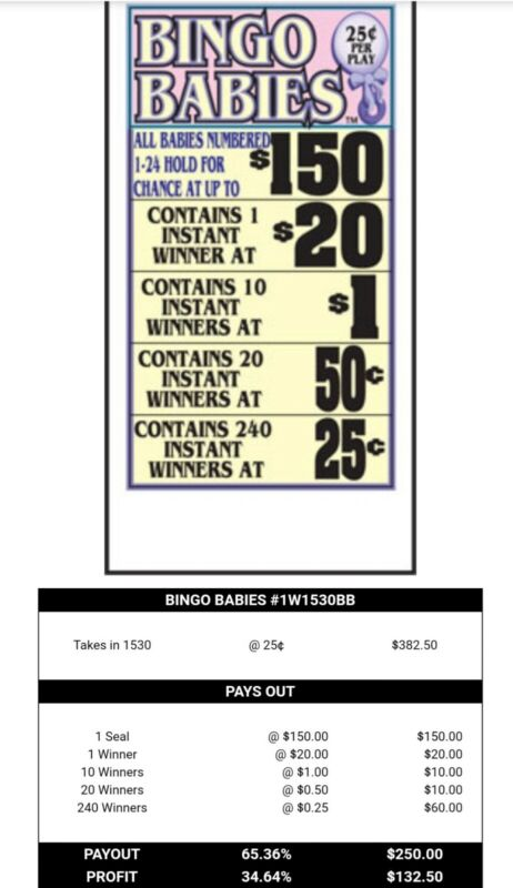Bingo Babies Pull Tab Tickets 25 cents profit 132