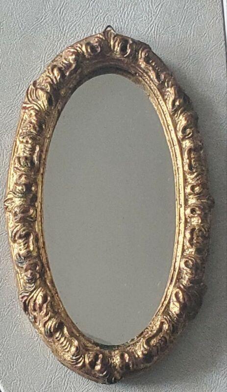 Vintage Florentine Florentia Toleware Italy Antiqued Gold Ornate Oval Mirror
