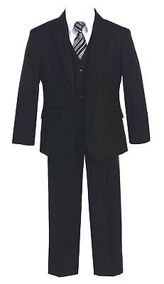 Boys Suits Black Gray Slim Fit Wedding Graduation Formal Toddler Party Teen - Kids Slim Fit Suits