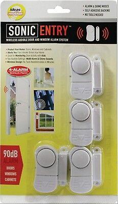 4 pack Window Door Security Wireless Alarm+Chime Magnetic Sensor with Batteries